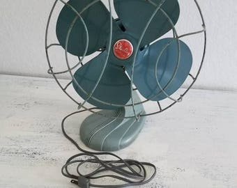 "Vintage Sterling Tabletop Fan Blue/Green Teal Chicago Electric Co 14"" Tall Industrial Decor"