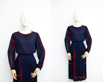 Vintage 70s Dress   Japanese Vintage Dress   Dark Blue Polka Dots   Pleated Skirt   Party Dress   Dinner Dress   Dress For Work
