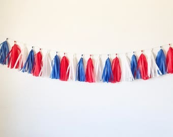 Tassel Garland | 4th of July Decorations | Fourth of July Decorations | Memorial Day | Independence Day | Patriotic Party | USA