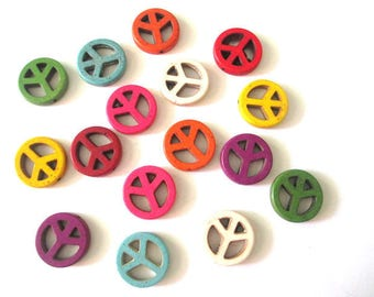 16 beads peace and love howlite mix color 20mm