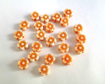 20 Acrylic beads 6 x 4 mm orange flower