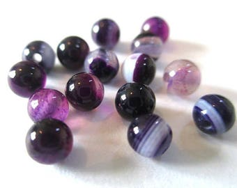 10 pearls 4mm purple striped agate