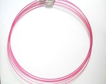 5 necklaces wire color fuchsia screw clasp