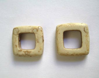 2 square 19mm white howlite beads