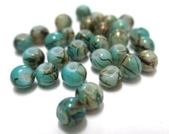 20 beads in blue and beige, Brown painted glass 4mm (A-11)