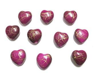 10 acrylic beads 15mm gold wire fuchsia heart