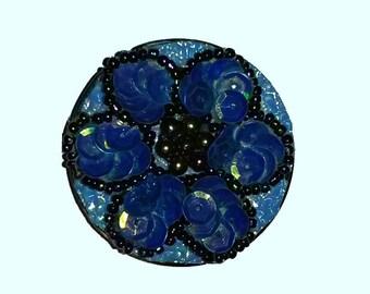 ღ blue bag hanger with sequins and seed beads ღ