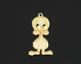 14k Cartoon Bird Duck Goofy Charm/Pendant Gold