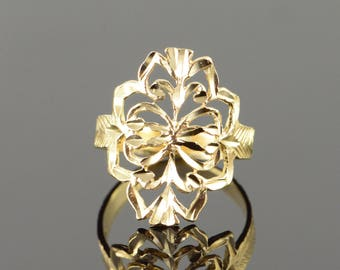 14k Filigree Floral Band Ring Gold