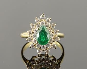 10k Created Emerald CZ Cluster Ring Gold