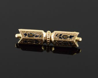 Victorian Mourning Jewelry Hollow Bar Pin/Brooch Gold Filled
