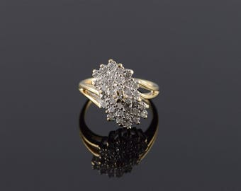14k 0.25 CTW Diamond Cluster Ring Gold