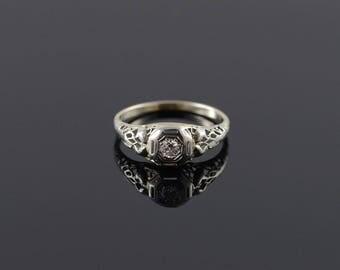 10k Art Deco 0.08 CT Round Brilliant Filigree Engagement Ring Gold