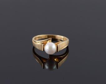 14k 6.5mm Pearl Bridge Ring Gold