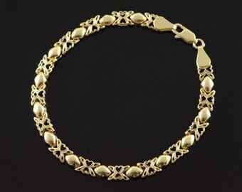 "14k Hollow Heart Filigree Tennis Bracelet Gold 7"""