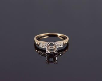 14k Retro Diamond Inset Engagement Setting Ring Gold