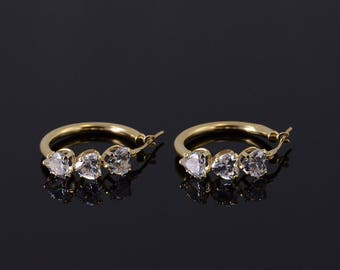 14k Cubic Zirconia Heart Encrusted Hollow Hoop Earrings Gold