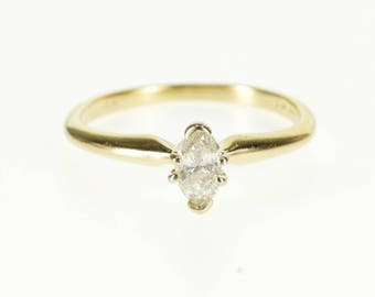 14k 0.25 Ctw Marquise Diamond Solitaire Engagement Ring Gold
