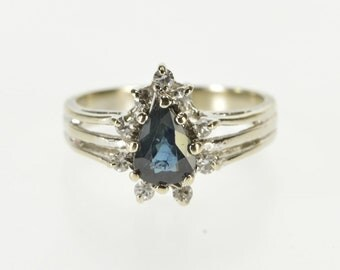14k Pear Sapphire Diamond Halo Engagement Ring Gold