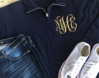 1/4 Zip Up Monogram PullOver, Monogram Pullover, Monogrammed Sweatshirt, Quarter Zip Pullover, Fall Sweatshirt, Bridesmaid Gift