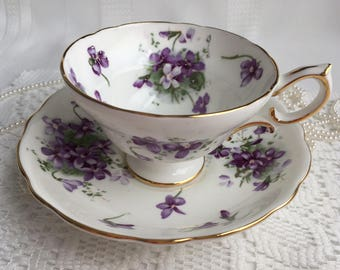 Hammersley China Tea Cup and Saucer, Victorian Violets from England's Countryside, 1940s