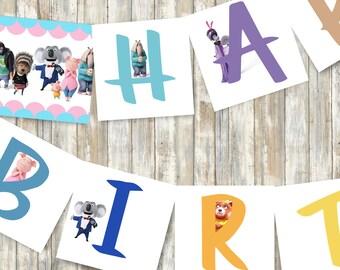 Sing Movie Birthday Banner, Happy Birthday Banner, Sing Birthday Party, Party Banner, Sing Movie Party - PRINTABLE - INSTANT DOWNLOAD
