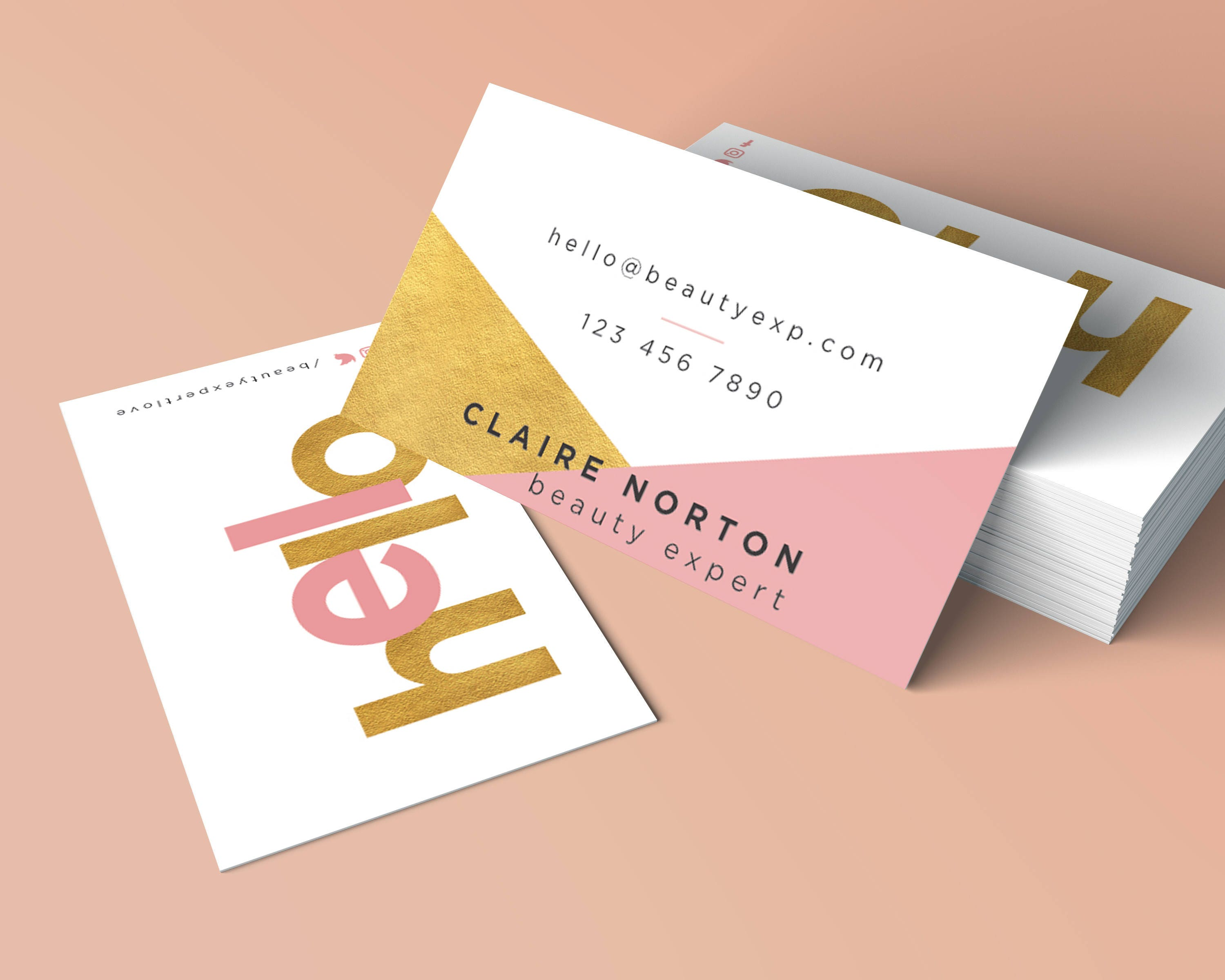 Modern geometric business card design gold foil business card modern geometric business card design gold foil business card printable business card glamour reheart Image collections