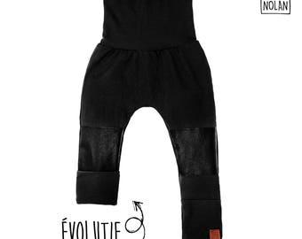 Evolutive Pants - Imitation leather knees - Black