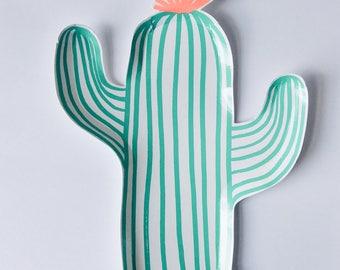 Cactus party plates, cactus shaped plates, cactus tableware, fiesta party, frida kahlo party, wild west party, cowboy, Meri Meri 12 pack
