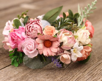 Dog Flower Crown, Dog Wedding Flower Collar, Puppy Flower Crown Photo Prop , Puppy Flower Collar Pink, Wedding Flower Crown, Dog Wreath