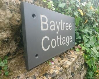 Welsh slate house sign - Laser engraved