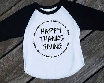 Happy Thanksgiving Raglan Boy/Girl Shirt