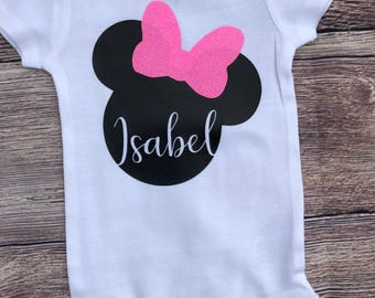 Girls Personalized Disney Minnie Mouse Bodysuit