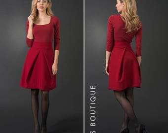 High waist red woman skirt, short skirt, mini pleated skirt, plus / large sizes, elegant knee-length skirt, elegant maxi skirt, cotton