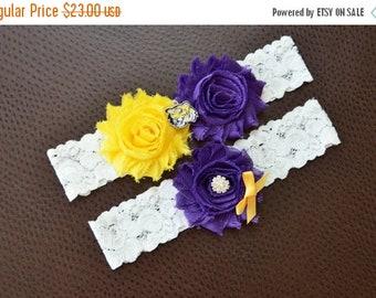 ON SALE LSU Tigers Wedding Garter Set, Lsu Garter, Lsu Bridal Garter Set, White Lace Wedding Garter, Louisiana State Garter