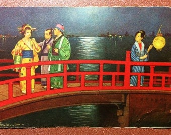 Vintage postcard 1920s COLOMBO Artist Signed. Japanese women geisha meeting men Japanese red bridge night lights. Love proposal.