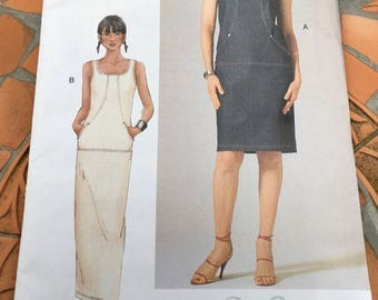 Vogue Sewing Pattern 7275 Misses Dress Fitted Staight Mid-Knee Above Ankle Seam Detail Self Lined Cap Sleeves Sleeveless  Size 6 8 10 Uncut