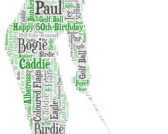 Personalised Word Art / Word Cloud - Golfer - Digital JPEG