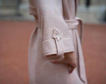 Pink soft wool coat