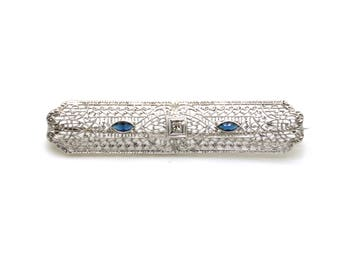 Vintage Sterling Silver Filagree Diamond Sapphire Bar Brooch Pin - .18 ct. total