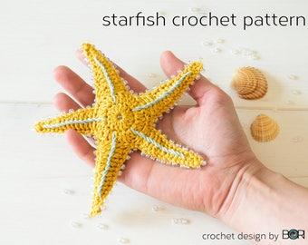 crochet starfish pattern, sea star, pdf, download, easy, diy, colorful, cotton, yarn, handmade, gift