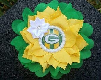 SALE!! Green Bay Packers NFL Double Flower Headbands/Clips/Barrettes (More teams available just ask)
