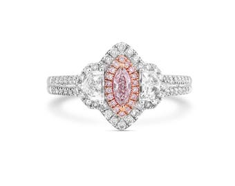 20% SALE 1ct Marquise, Diamond Ring, Gold Diamond Ring, Diamond Engagement, Fancy Pink Diamond, Gold Ring, Anniversary Gift, Solitaire Ring