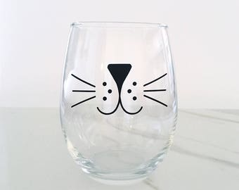 Cat Whiskers Stemless Wine Glass, Meow, Cat Wine Glass, Kitten Wine Glass, Cat Wine Glass, Cat Lover Gift, Friday the 13th, Cat Whiskers