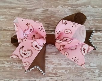 Cowgirl bow, Pink and brown bow, Pink Paisley bow