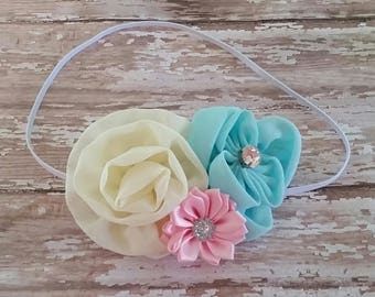 Cream, blue and pink headband flower girl headband