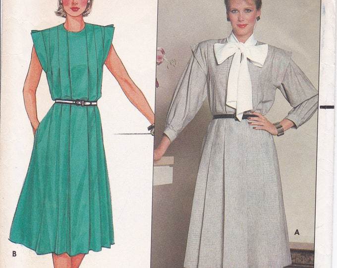 FREE US SHIP Butterick 6371 Vintage Retro 1980s 80s Sewing Pattern Flange Armhole Front Pleats Dress Size 14 Bust 36  Factory Folded