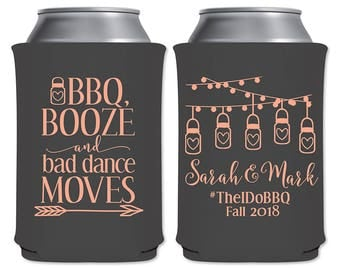 Foam Can Cooler Rustic Barn Mason Jar Light Rehearsal Dinner Engagement Party Favor | I Do BBQ Booze Bad Dance Moves (1A) | READ DESCRIPTION