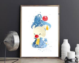 Dr. Mog, Moogle, Final Fantasy Record Keeper, Moogle Art Print, Watercolor Dr Mog Wall Art, Nursery Print, Nursery Wall Art,