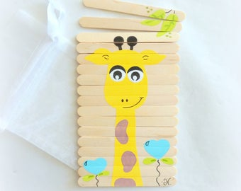 Puzzle wooden giraffe puzzle for kids, handmade puzzle painted with acrylics, travel game, handheld game, kids puzzle, puzzle animals